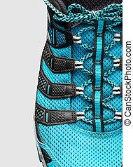 bleu, closeup, gris, lacets