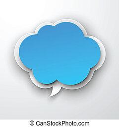 bleu, cloud., papier