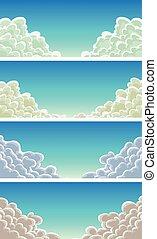 bleu, cloudscape, backgrou, ensemble, ciel