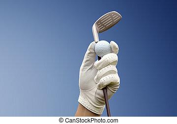 bleu, club, golf, contre, ciel