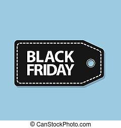 bleu, coût, vendredi, étiquette, arrière-plan noir