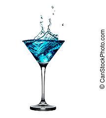 bleu, cocktail, à, eclabousse, isolé, blanc