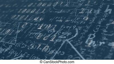 bleu, codage, traitement, contre, numérique, binaire, équations, mathématique, fond, données, animation