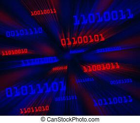 bleu, code binaire, incliné, voler, octets, par, vortex., horizontal, rouges