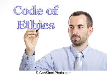 bleu, code, texte, -, jeune, surface, écriture, homme affaires, éthique, transparent