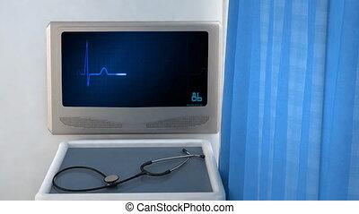 bleu, coeur, écran, ekg moniteur