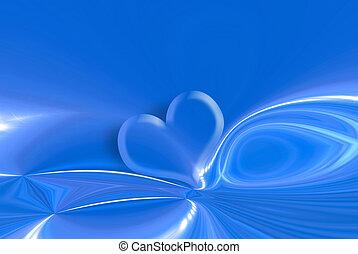 bleu, coeur, étoiles, fond