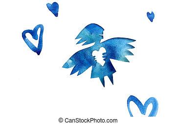 bleu, coeur, amour, ange