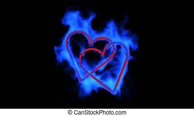 bleu, coeur, brûlé, jour