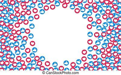 bleu, coeur, buttons., aimer, toile, haut, arrière-plan., vecteur, social, filets, rouges, pouce