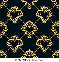 bleu, coeur, chaîne, doré, pattern., seamless, illustration,...