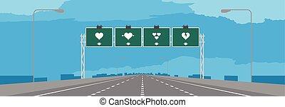 bleu, coeur, concept, espace, symbole, ciel, journée, valentin, autoroute, fond, vert, signage, illustrations, conception, copie, ou, autoroute