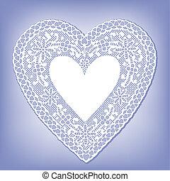 bleu, coeur, dentelle, napperon, pastel