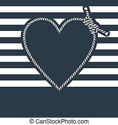 bleu, coeur, fait, corde, forme, fond