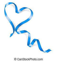 bleu, coeur, fait, ruban