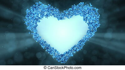 bleu, coeur, fleur, rose, forme, pétales, mat, sakura, alpha, placeholder, boucle, 4k