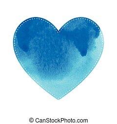 bleu, coeur, fond blanc