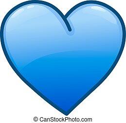 bleu, coeur, icône