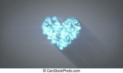 bleu, coeur, incandescent, loopable, forme, animation