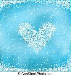 bleu, coeur, neige, fond