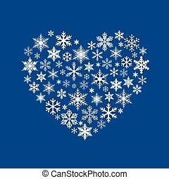 bleu, coeur, neige, illustration, arrière-plan., vecteur, blanc