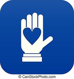 bleu, coeur, numérique, icône, main