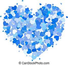 bleu, coeur, peu, réconcilié, isolé, cœurs, blanc