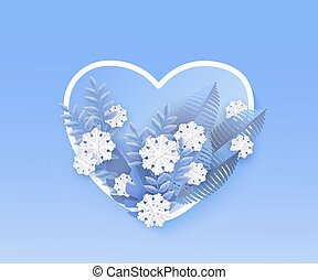 bleu, coeur, plante, naturel, hiver, feuilles, forme., illustration, vecteur, blanc, bannière, flocons neige