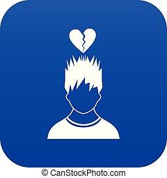 bleu, coeur, tête, sur, cassé, homme numérique, rouges, icône