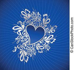 bleu, coeur, vecteur, st.valentine.
