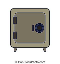 bleu, coffre-fort, sécurité, lignes, symbole