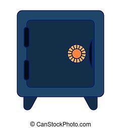 bleu, coffre-fort, symbole argent, lignes, sécurité