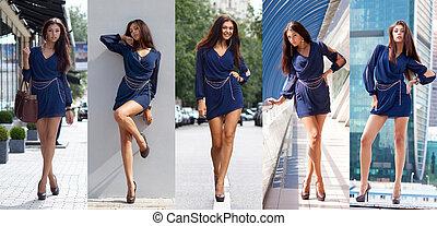bleu, collage, jeune, cinq, robe, femmes