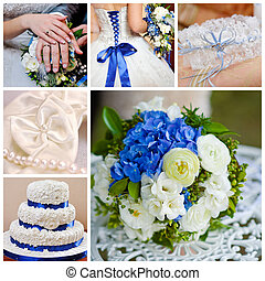 bleu, collage, photos, mariage