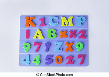 bleu, coloré, alphabet, magnétique, plastique, fond, anglaise