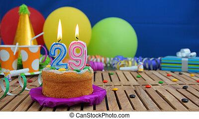 bleu, coloré, bois, bonbons, bougies, foyer, plastique, rustique, arrière-plan., dons anniversaire, fond, ballons, gâteau, table, tasses, mur