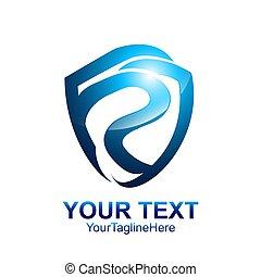 bleu, coloré, business, compagnie, initiale, p, conception, gabarit, lettre, logo, identité, bouclier