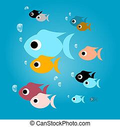 bleu, coloré, fish, eau, vecteur, bulles
