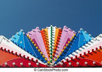 bleu, coloré, foire, ciel, profond, lumières, amusement
