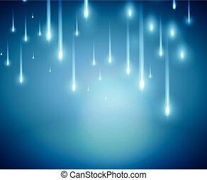 bleu, coloré, lumière, brouillé, halation, vecteur, fond
