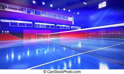 bleu, coloré, tribunal, intérieur, vide, tennis