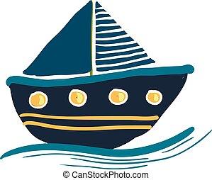 bleu, coloré, voile, couleur, illustration, vecteur, ou, bateau