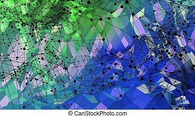 bleu, colors., 16, gradient, résumé, moderne, poly, air, vert, bas, fond, grille, surface, 3d