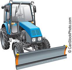 bleu, combattant, neige, tracteur