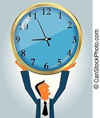 bleu, commercialisation, clock., suit., usure, homme affaires, conception, levage