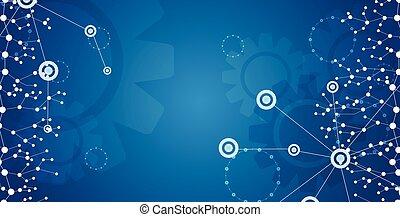 bleu, communication, clair, technologie, bannière