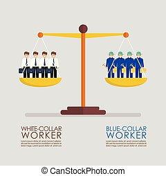 bleu, comparaison, échelle, ouvriers, infographic, entre, ...