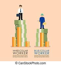 bleu, comparaison, ouvriers, revenu, infographic, entre, col...