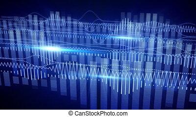 bleu, compensateur, loopable, forme onde, fond, audio
