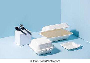 bleu, compostable, canne sucre, sur, coutellerie,...